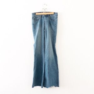 Free People High-Rise Flare Raw Hem Jeans